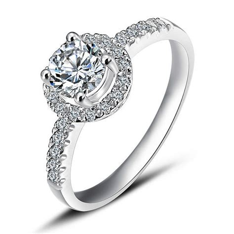 curved engagement ring halo engagement ring on white gold jewelocean