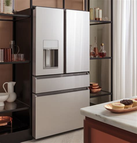 cvedmns cafe modern glass collection   cu ft refrigerator wifi stainless steel