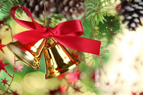 christmas jingle bells images with holly ribbon