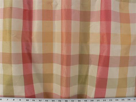 plaid drapery fabric drapery upholstery fabric designer faux silk plaid coral