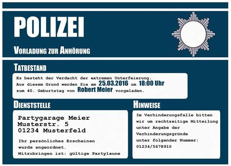 einladungskarten zum geburtstag polizei vorladung lustig