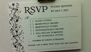 funny wedding rsvp card wording With wedding invitation rsvp options