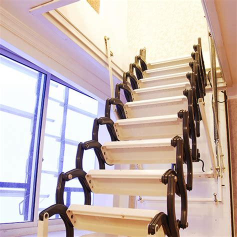 fold up staircase aluminum folding attic ladder with handrail buy folding attic ladder folding attic ladders