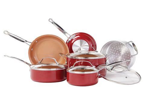 bulbhead red copper pc ceramic cookware set