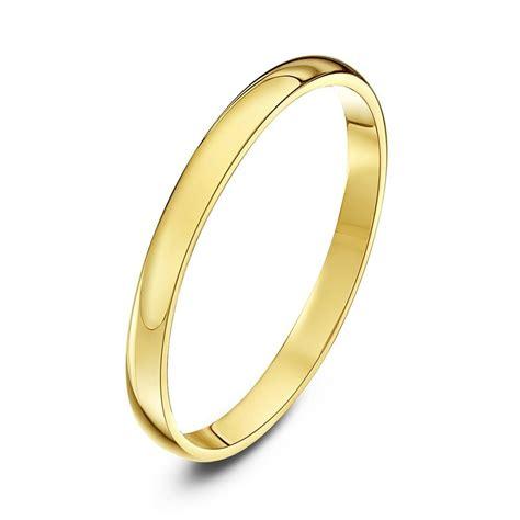 9ct yellow gold light weight d shape wedding ring