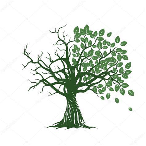 Albero Clipart - vecchio albero con verde foglie radici e mele rosse
