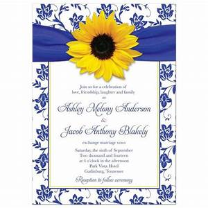wedding invitation sunflower damask royal blue yellow With royal blue and sunflower wedding invitations