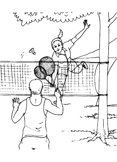 Kleurplaat Badminton by Sport Badminton Kleurplaat