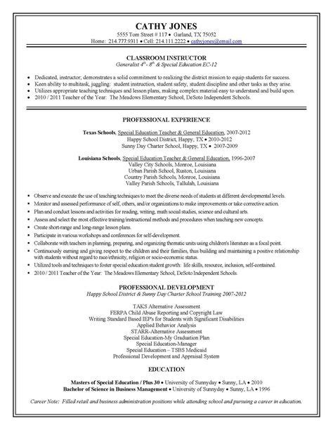 Special Education Resume Bullet Points by Resumes On Resumes Resume And
