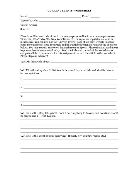 7 Best Images Of Current Event Outline Worksheet  Current Events Worksheet Template Middle