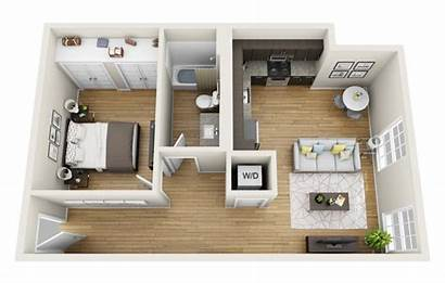 Bedroom Apartment 3d Apartments Plans Floor Loft