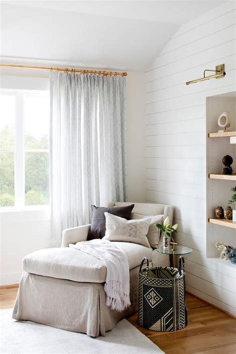 beige linen chaise lounge  corner  bedroom