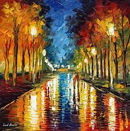 Contemporary art color reflections hand pai…