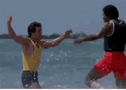 Rocky Apollo Hug Stallone Gifs Beach Running