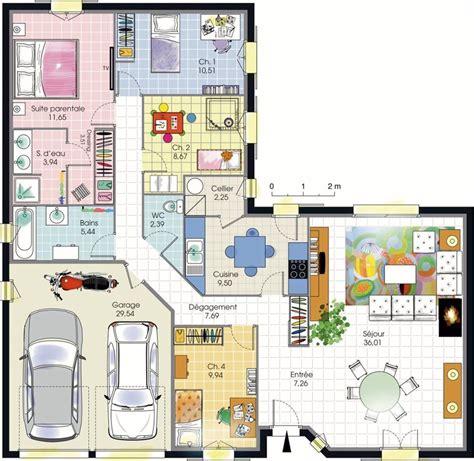 plan de maison plain pied 4 chambres avec garage plan de maison 4 chambres plain pied plans maisons