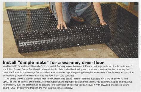 floating floor underlayment basement dimple mats on subfloor instead of dri cheaper