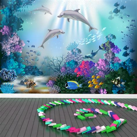 dolphin coral reef wall mural wallpaper