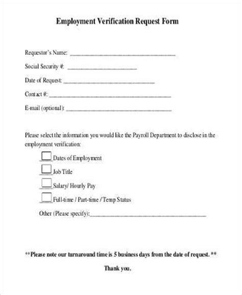 social security employment verification form sle employment verification request forms 9 free