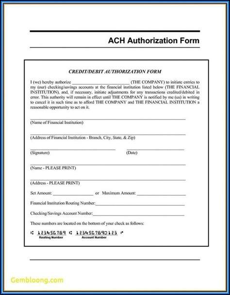 generic ach deposit authorization form form resume