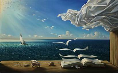 Surreal Painting Books Sea Flying Fantasy Nature