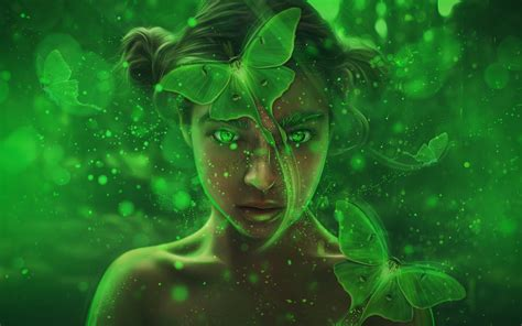 wallpaper fantasy girl forest magic fairy green