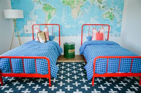 Red And Blue Kids Bedroom Design-contemporary-boy's Room