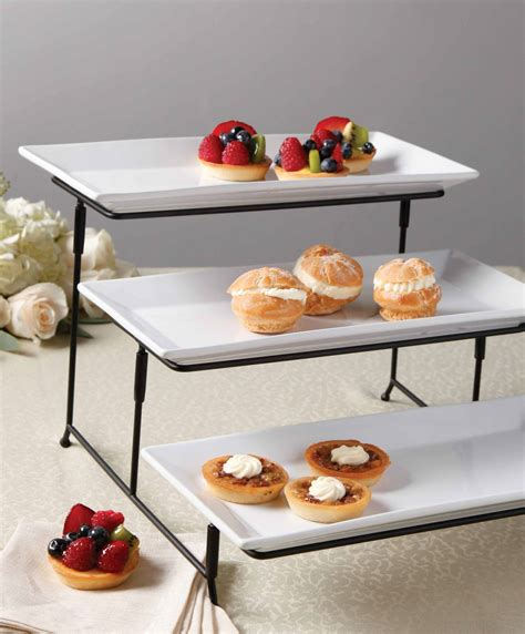 gibson  tier plate set  metal stand home dining entertaining serveware cake