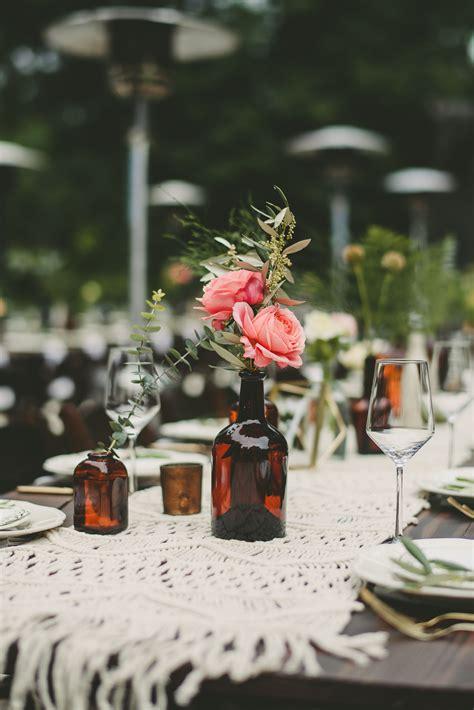 brown glass bottle centerpieces
