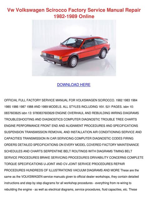online service manuals 1984 volkswagen scirocco transmission control vw volkswagen scirocco factory service manual by sharee