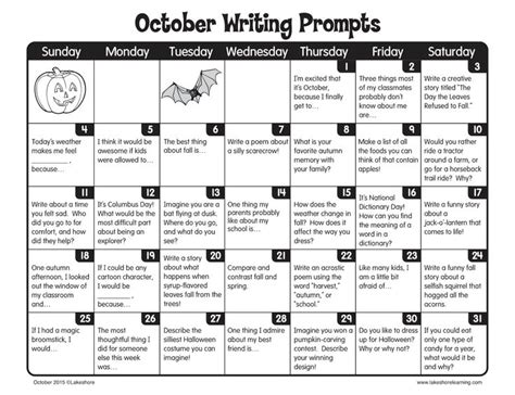 october writing prompts from lakeshore learning writing practice teaching