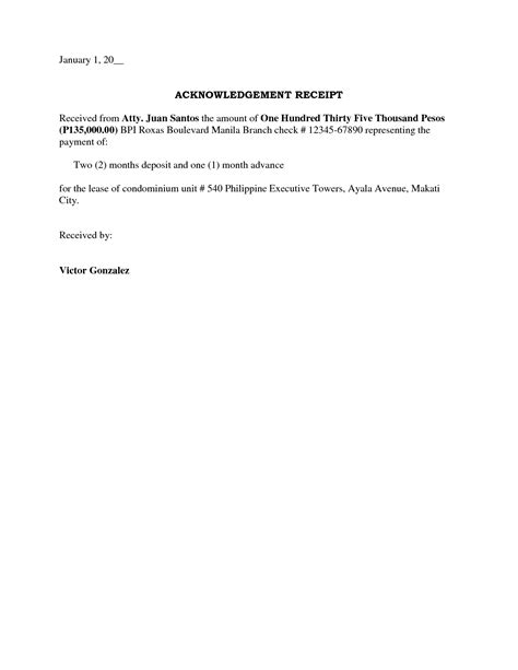 editable payment receipt letter and acknowledgement of