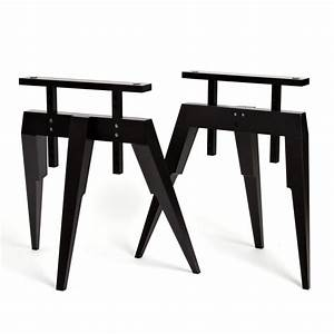 Tréteaux Pour Table : tr teau bois tr teaux noir pour bureau ou table compass ~ Melissatoandfro.com Idées de Décoration
