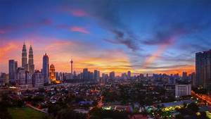 Sunset landscapes cityscapes urban buildings malaysia ...