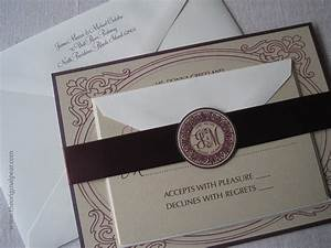elegant wedding invitation with monogram seal and satin ribbon With wedding invitation seals etiquette