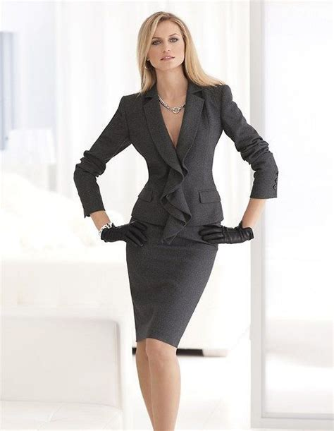 Gray Suit Office Apparel For Women Work Formal Outfit