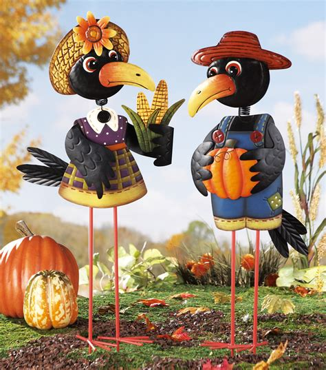 fall ornaments old crow couple metal yard lawn ornament stake harvest fall thanksgiving decor ebay