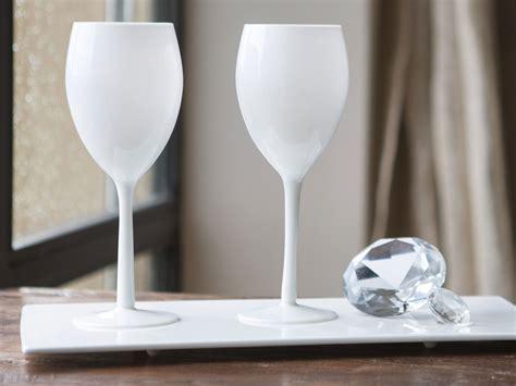 verre 224 vin 224 pied en verre opaque blanc 50 cl set de 4