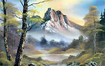 Ross Bob Painting Wallpapers Forest Landscape Mountains