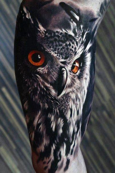 realistic owl tattoo designs  men nocturnal bird ideas