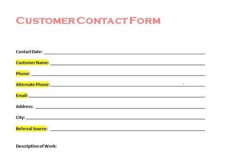 customer contact form  tradesman startup