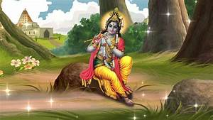 God Krishna playing flute in vrindavan