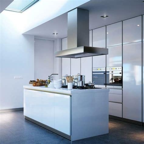 hauteur entre meuble bas et haut cuisine idée cuisine avec îlot perspective mouvement lumière
