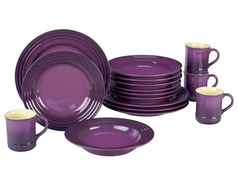 le creuset stoneware dinnerware set  piece cassis cutlery