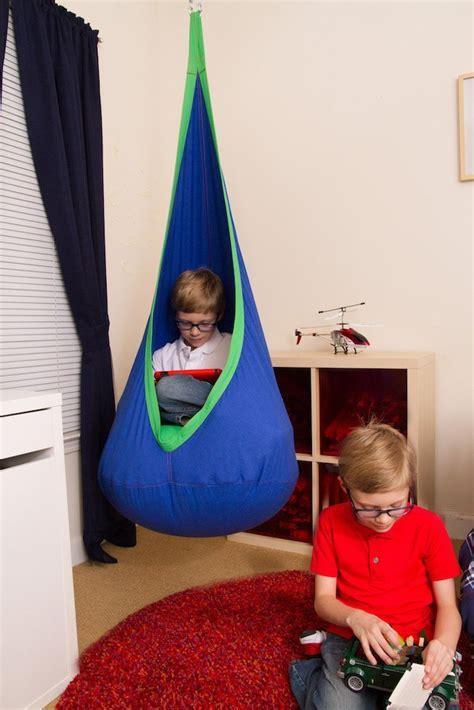 blue and green sensory swing pod chair heavenly
