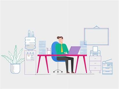 Office Working Animation Dribbble Illustration Digital Vector