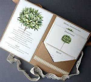 Bay tree rustic pocketfold wedding invitation a5 booklet for A5 pocketfold wedding invitations