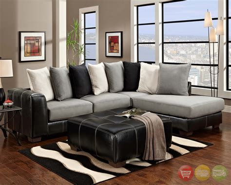 Black And Gray Sofa by Idol Steel Black Gray White Sectional Sofa Pillow Back