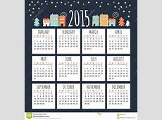 Calendar 2015 With Cute Winter Houses, Illustration Stock
