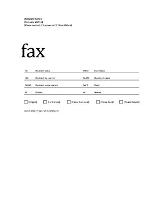 fax cover