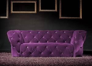 Canapé Chesterfield Velours : canap 3 places velours violet royal chesterfield ~ Teatrodelosmanantiales.com Idées de Décoration